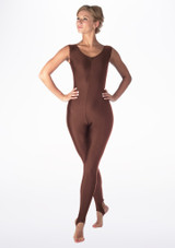 Alegra Shiny Deanna Catsuit Brown front. [Brown]