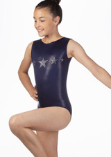 Alegra Girls Stars Sleeveless Leotard Blue front. [Blue]