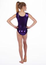 Alegra Girls Stars Sleeveless Leotard Purple back. [Purple]