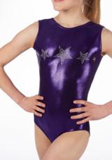 Alegra Girls Stars Sleeveless Leotard Purple front #2. [Purple]