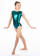 Alegra Girls Zoella Sleeveless Leotard Green back. [Green]