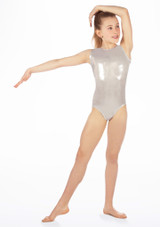 Alegra Girls Zoella Sleeveless Leotard Silver front. [Silver]