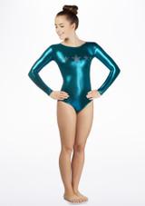 Alegra Girls Stars Long Sleeve Leotard Blue front #3. [Green]