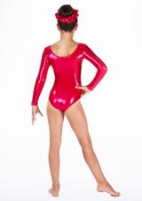 Alegra Girls Stars Long Sleeve Leotard Pink back. [Pink]