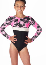 Alegra Girls Celeste Long Sleeve Gymnastics Leotard Black-Pink. [Black-Pink]