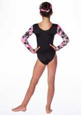 Alegra Girls Celeste Long Sleeve Gymnastics Leotard Black-Pink #2. [Black-Pink]