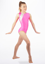 Alegra Girls Anthem Sleeveless Gymnastics Leotard Pink front. [Pink]
