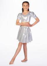 Alegra Girls Metallic Circle Dance Skirt Silver front. [Silver]