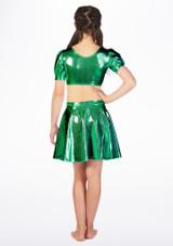 Alegra Girls Metallic Circle Dance Skirt Green back. [Green]