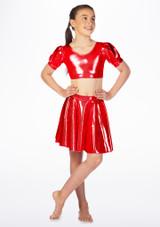 Alegra Girls Metallic Circle Dance Skirt Red front. [Red]