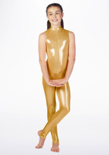Alegra Girls Metallic Rhona Catsuit Gold front. [Gold]