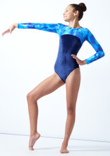 Tappers & Pointers GYM23 Long Sleeved Gymnastics Leotard Blue Front-1 [Blue]