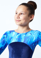 Tappers & Pointers GYM23 Long Sleeved Gymnastics Leotard Blue Close up front-1 [Blue]