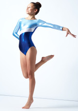 Tappers & Pointers GYM10 Long Sleeved Gymnastics Leotard Blue Front-2 [Blue]