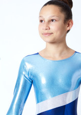 Tappers & Pointers GYM10 Long Sleeved Gymnastics Leotard Blue Close up front-1 [Blue]