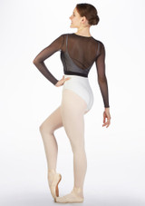 Intermezzo Teen Mesh Ballet Wrap Black back. [Black]
