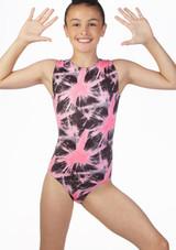 Alegra Girls Spark AOP Sleeveless Gymnastics Leotard Pink front. [Pink]