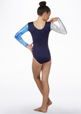 Alegra Frozen Long Sleeve Gymnastics Leotard Blue back. [Blue]