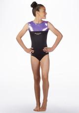 Alegra Girls Spirit Sleeveless Gymnastics Leotard Purple front. [Purple]