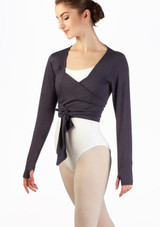 Ballet Rosa Soft Wrap Warm Up Top Grey front. [Grey]