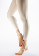 Grishko Raw Hem Footless Dance Tights White side. [White]