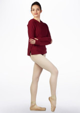 Ballet Rosa Warm Up Hoodie Red front. [Red]