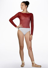 Ballet Rosa Mesh Warm Up Top Red front. [Red]