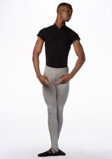 Ballet Rosa Mens Short Sleeved Zip Up Leotard Black front. [Black]