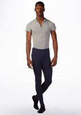Ballet Rosa Mens Short Sleeved Zip Up Leotard Grey front. [Grey]