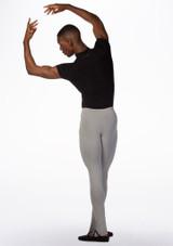 Ballet Rosa Mens Short Sleeved Zip Up Leotard Black back. [Black]