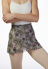 Move Floral Wrap Dance Skirt Grey front #2. [Grey]