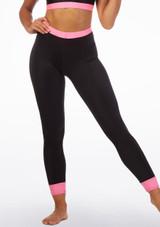 Alegra Fuse Waistband Legging Black-Pink front. [Black-Pink]