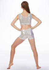 Alegra Gymnastics Crop Top Silver back. [Silver]