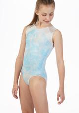 Alegra Ripple Sleeveless Gymnastics Leotard Blue front. [Blue]
