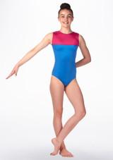 Alegra Kaylee Gymnastics Leotard Blue front. [Blue]