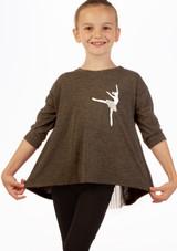 Move Dance  3/4 Sleeve Ballerina Top Grey front. [Grey]
