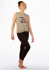 Move Dance Tank Sleeve 'Be Different' Top Grey front. [Grey]
