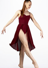 Move Dance Rhian Lyrical Half Skirt Red front. [Red]
