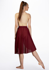 Move Dance Rhian Lyrical Half Skirt Red front #2. [Red]