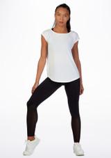 Move Open Back Dance T-Shirt White front. [White]
