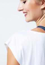 Move Mesh Back Dance T-Shirt White back. [White]