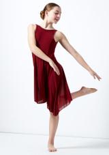 Move Dance Teen Elara High Split Lyrical Dress Red front. [Red]
