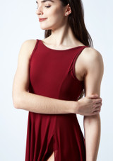 Move Dance Larissa High Split Lyrical Dress Red front #2. [Red]