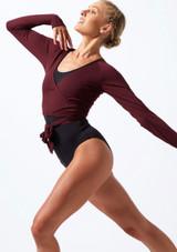 Move Dance Reach Tie Wrap Dance Top Purple front. [Purple]