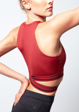 Move Dance Infinity Cross Over Crop Top Red back #2. [Red]