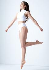 Move Dance Callisto Keyhole Crop Top White side. [White]
