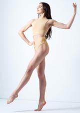 Move Dance Callisto Keyhole Crop Top Tan front. [Tan]