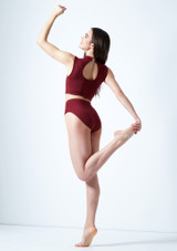 Move Dance Callisto Keyhole Crop Top Red back. [Red]