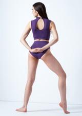 Move Dance Callisto Keyhole Crop Top Purple back. [Purple]