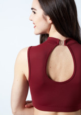Move Dance Callisto Keyhole Crop Top Red back #2. [Red]